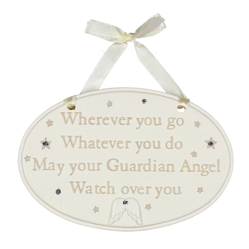Guardian Angel Baby Gift hanging plaque for new baby and christening gifts